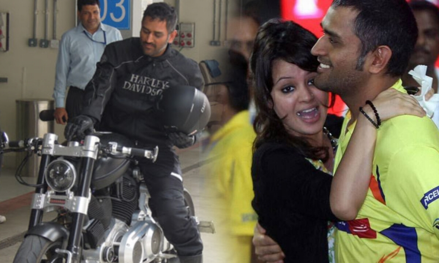 Sakshi scolds Dhoni after he parks his bike at a wrong place