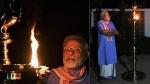 தமிழர்களின் பாரம்பரிய உடையான வேட்டி மற்றும் ஜிப்பா அணிந்து தீபம் ஏற்றிய பிரதமர் மோடி