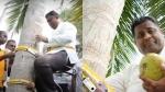 தென்னை மரத்தின் மீது பிரஸ்மீட்.. சரசரவெனெ ஏறி விட்டு இறங்கத் தெரியாமல் திணறிய அமைச்சர்!