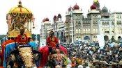 மைசூர் தசரா கோலாகலம்.. 750 கிலோ சாமுண்டீஸ்வரி அம்மன் அம்பாரியை சுமந்த அர்ஜுனா யானை!