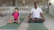 புதுச்சேரியில் சிரசாசனம் யோகா.. 10 வயது சிறுமி தந்தையுடன் கொரோனா விழிப்புணர்வு!