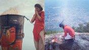 திருவண்ணாமலையில் மலை மீது ஏறி தீபத்தை தரிசித்த சஞ்சிதா ஷெட்டி - வைரலாகும் புகைப்படம்