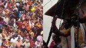 கொரோனாவா அப்படினா என்ன? மாஸ்க்கை மறந்து கோவிலில் லட்டுகளை பிடிக்க திரண்ட ஆயிரக்கணக்கான பக்தர்கள்!