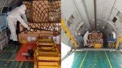 1.7 டன் எடைகொரோனா நிவாரண பொருட்களுடன் கோவை டூ லட்சத்தீவுகள் பறந்த இந்திய விமான படை விமானம்