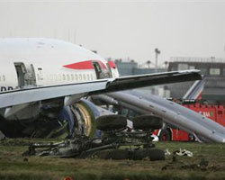 Damaged under carriage of crash landed British Airways flight