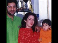 Wasim with wife and child