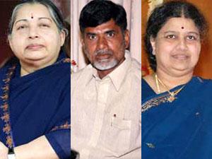 Jayalalitha, Chandrababu Naidu and Sasikala