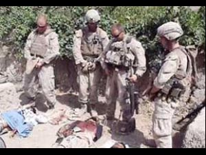 US Marines urinating on Taliban corpses