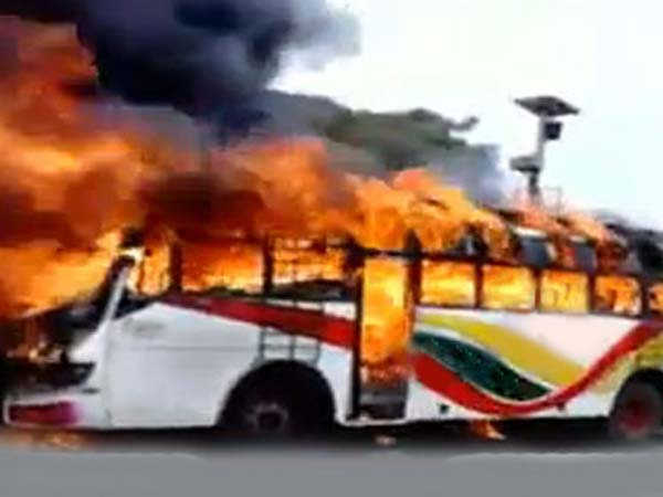 Bengaluru: Private bus catches fire, 3 passengers injured