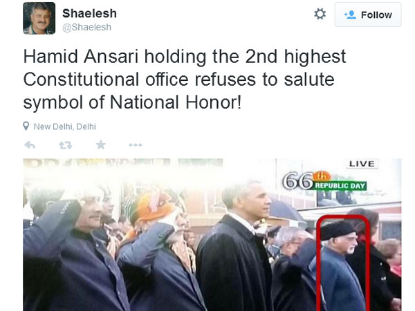 R-Day controversy: Vice-President Hamid Ansari slammed on social media for not saluting Tricolour