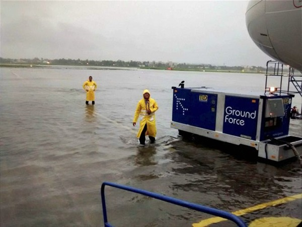 Airport runway closed due to heavy rain