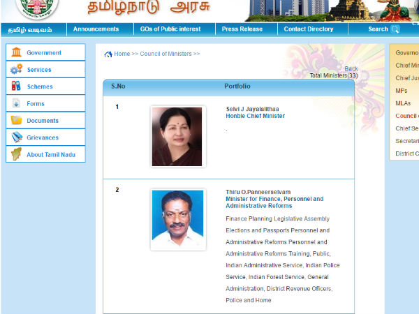 Tamilnadu government website changed ministers portfolio