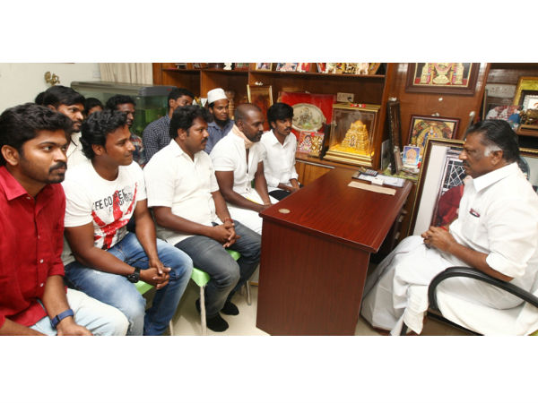 Ragava Lawrence and Gowthaman thank CM Panneerselvam
