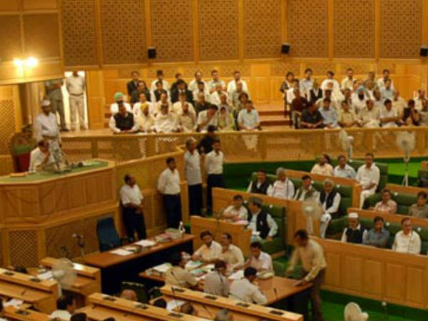 Uproar in Kashmir assembly MLAs shouted and threw chairs and desks