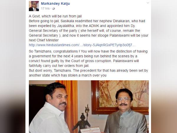 Katju congratulates Tamilians for having pro Sasikala Govt