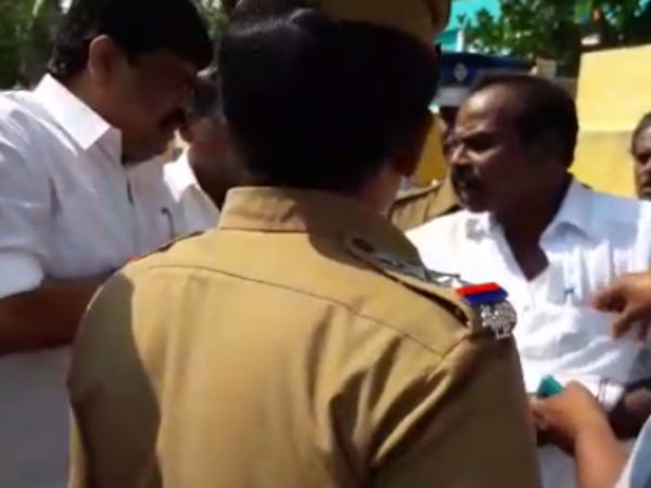Minister attacked a man who tore Sasikala poster