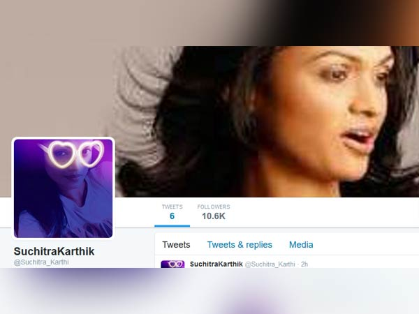 Another page created in the name of Suchithra Karthik in twitter #SuchiLeaks