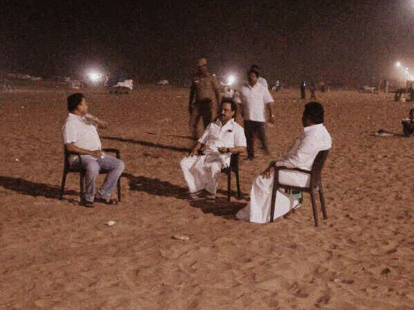 M.K.Stalin visit to marina beach with his party Executives