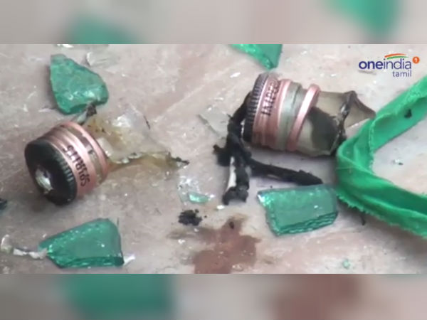 Unkonown persons threw petrol bomb on BJP person's house in Devakottai