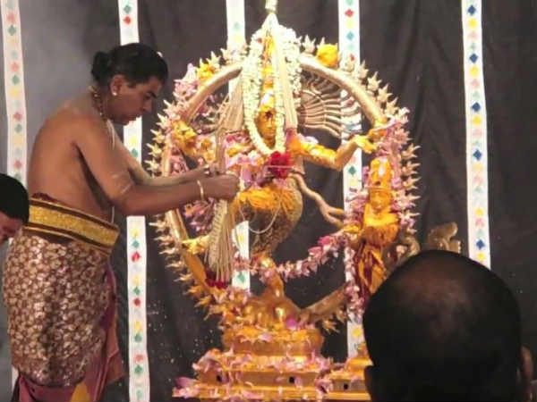 Abishekam performed to Lord Nataraja on the day of Aani Thirumanjanam.