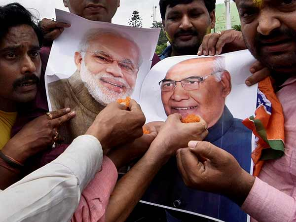 BJP workers celebrating the Presidential election Victory