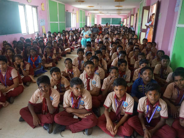Karaikudi municipal high school was trained to improve memory and attention of the students