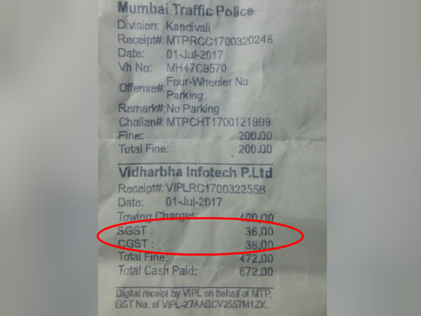 Mumbai police collected GST for fine amount too