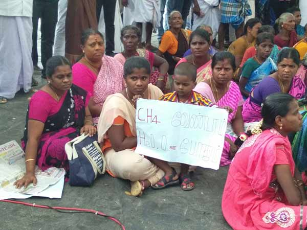 Neduvasal women hick out gas cylinder to show their anger against central government