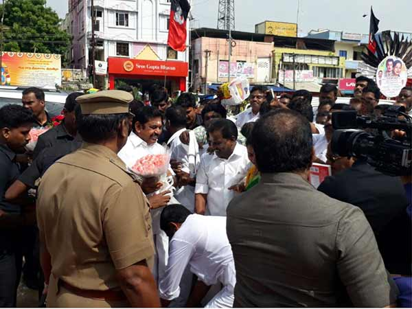 ADMK cadres fall in Edappadi's feet