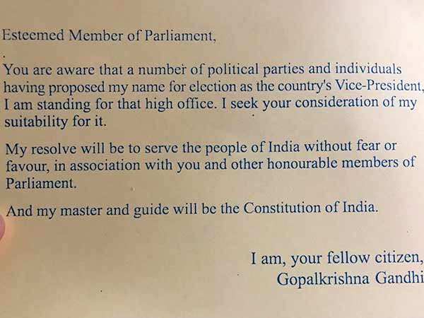 Vice-Presidential election, Gopalkrishna Gandhi writes letter to MP seeking support