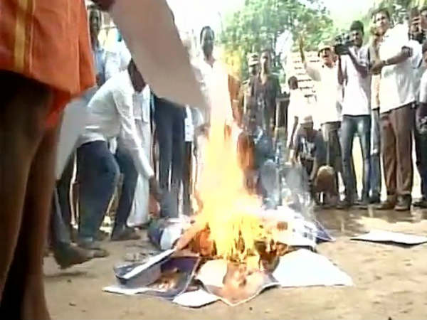 Effigy of EPS, OPS burnt in front of The Wind Flower resort