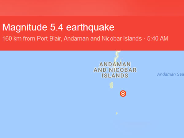 An Earthquake of 5.4 magnitude struck Andaman Islands