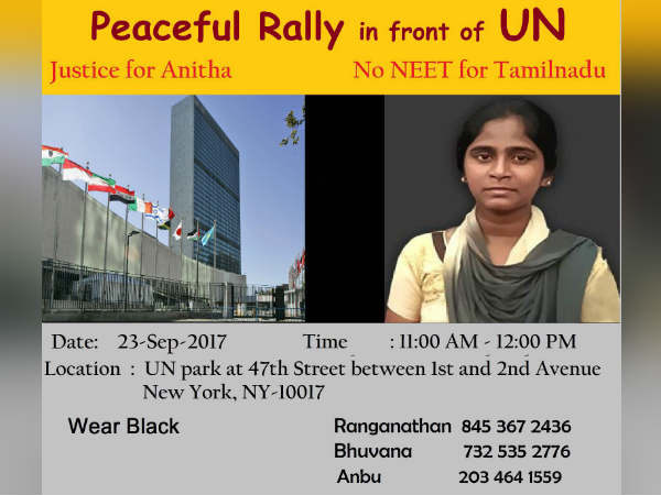 American Tamil protest in front of UN for Anitha