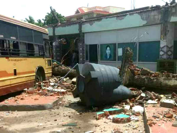 Coimbatore Somanur bus stand collapse face book video