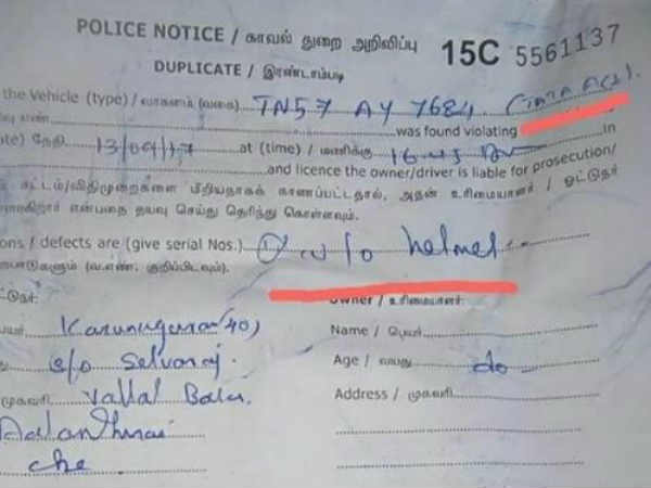 Coimbatore traffic police fined Tata ace driver for not wearing helmet while driving