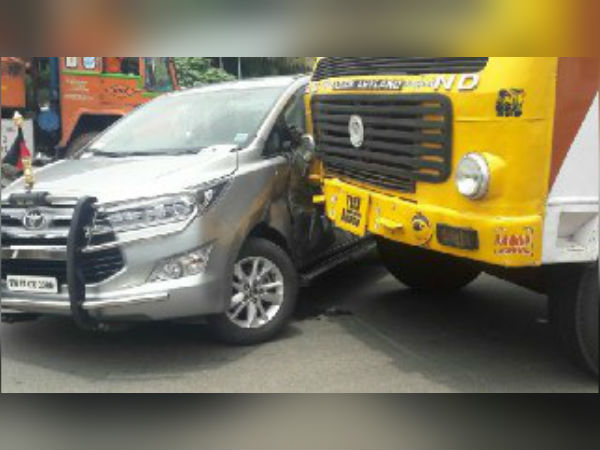DMK MLA car met in accident