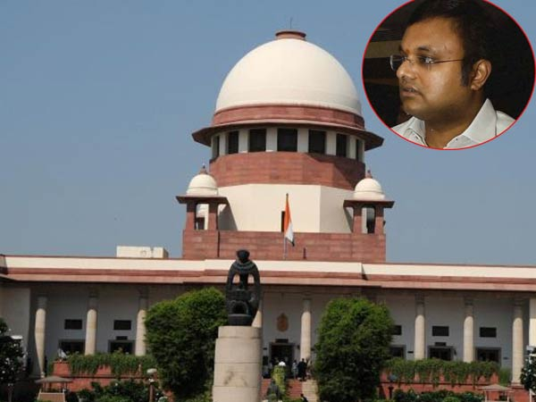 SC bars Karti Chidambaram from traveling abroad untilfurther orders