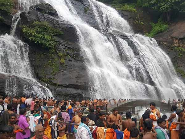 Tourist are allowed to take bath in the Kuttralam falls