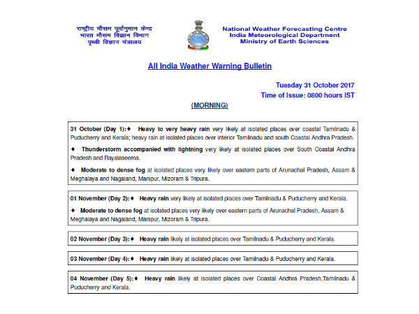 Heavy to very heavy rain very likely at isolated places over coastal Tamilnadu & Puducherry and Kerala: Indian meteorological center