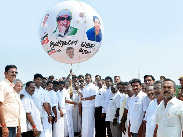 ADMK found alternative for ban to no living persons in banner