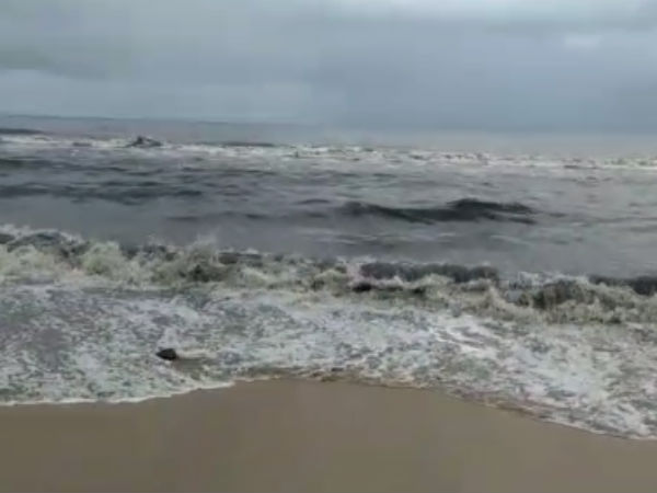 chennai's Marina sea shore turns into blacksea because of rain water mixed in it.