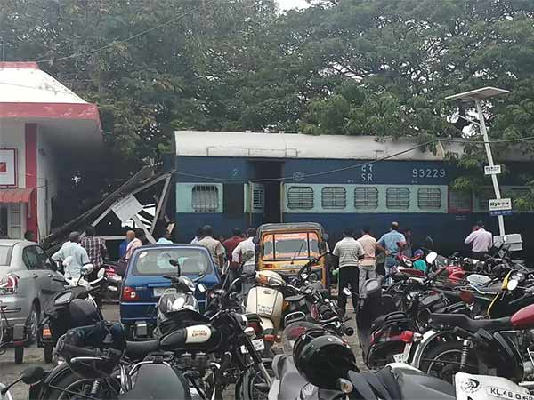 Minor Train accident at Nagercoil damaging Post office inside the Station