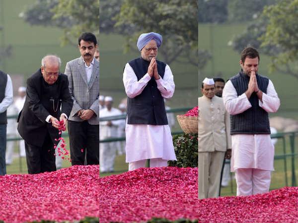 இந்திரா காந்தி 100வது பிறந்தநாள்:டெல்லி நினைவிடத்தில் பிரணாப், மன்மோகன்சிங், ராகுல் மலர்தூவி அஞ்சலி