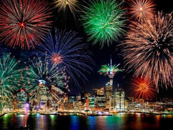 New Zealand Auckland city celebrates new year 2018 as the first country of the world