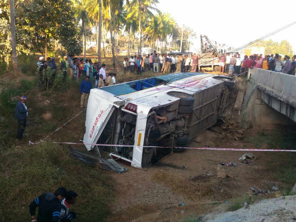 KSRTC Volvo bus falls into pond, 8 died