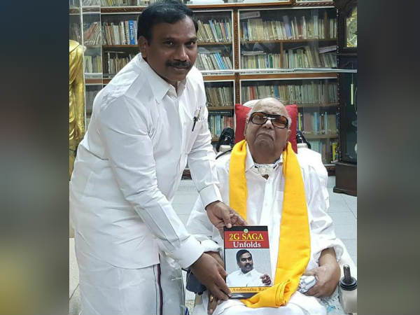 Raja gives 2g saga unfolds book to Karunanidhi
