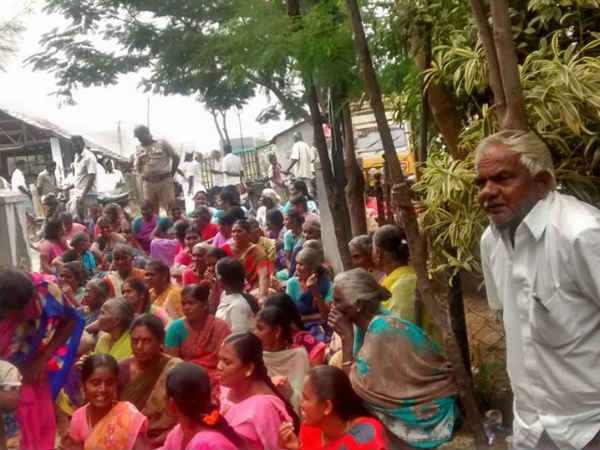 A village people protest against ward bifurcation