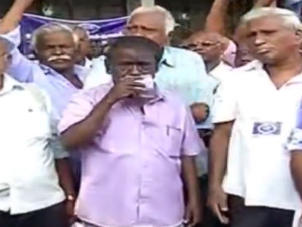Transport workers involved in road roko in Tanjore