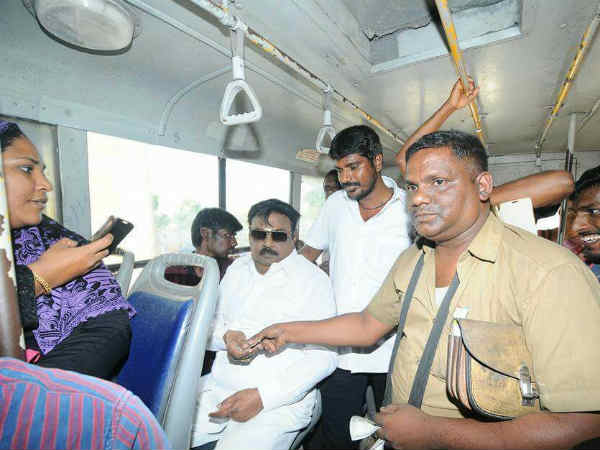 Vijayakant travels in bus to conduct protest against bus fare hike
