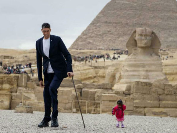 World's tallest and Shortest man and woman met in Egypt